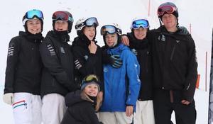 Från vänster: Hanna Hansson, My Bjerkman , Wilmer Erling, Hugo Franck, Erik Flodman och Ture Johansson (saknas på bild gör Ebba Flodman). FOTO: GEFLE FREESTYLE