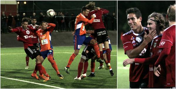 Simon Fäger är framme och klappar om Anton Lindbom som precis gjort 2–0 på en 30-meters frispark.