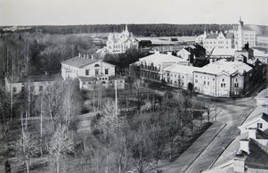 Länslasarettet, senare omdöpt till Grapes sjukhem,  låg vid nuvarande Kvarnbrons fäste i Stadsträdgården. Det revs i början av 70-talet inför brobygget. På bilden, som är tagen från kyrktornet, ligger det till vänster.