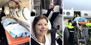 Emilie Johansson och Jonas Högman är tacksamma för svensk sjukvård och hyllar personalens insatser. Bilderna är från 2016 när paret fick åka ambulansflyg till Göteborg efter det första hjärtstoppet.