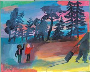 Till och med Tiden vill ta semester och varva ner i en ny barnbok, med illustrationer av Ida Björs. Pressbild.