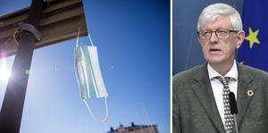 Rekommendationen om munskydd i rusningstrafik försvinner. Johan Carlson, FHM (th). Foto: Pontus Lundahl 7 TT