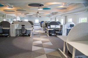 Kontorslandskapet där teknikerna nu kommer arbeta tillsammans.