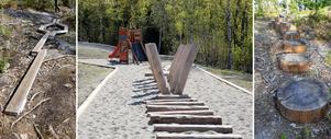 Exempelbilder av vad som skulle kunna finnas på motorikbanan vid Hörnsjön. Bild: Privat