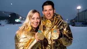 Frida Hansdotter och André Myhrer får jaga ett nytt OS-guld tillsammans. Bild: Petter Arvidson/Bildbyrån.