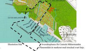 Detaljplanerna 1718 för Öster Mälarstrand. Gränsen går mitt i piren och här är det inte tillåtet att bo på en båt.