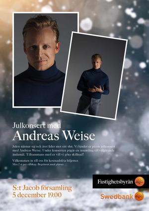EVENT. Ett av de återkommande eventen som Fastighetsbyrån Södertälje arrangerar är de årliga julkonserterna i St Jakobs Kyrka. Nu senast med Andreas Weise.