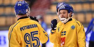 Erik Pettersson och Christoffer Edlund firar Sveriges 6–0-mål. Foto: Björn Larsson Rosvall/TT