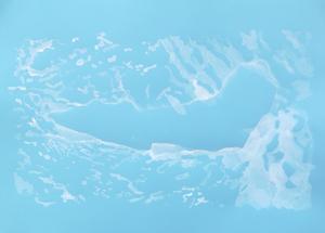 Pressbild: Lake Vostok av Ida Pettersson målad gouache på färgat papper.