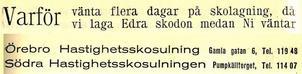 Annons i Örebro stads adresskalender år 1939.