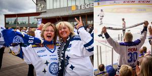 Många vit- och blåklädda supportrar befann sig på plats i Tegera Arena under lördagen.