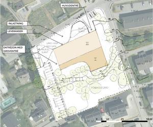 Så här ser en första skiss över var en ny förskola kan byggas ut. På platsen ligger idag Urbegets förskola.  Illustration: Norconsult