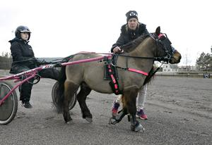Linda Söderström ordförande i Dannero Ponnytravklubb hjälper till att fästa käkremmen som har lossnat på Ibra, dottern Lovisa sitter i sulkyn.