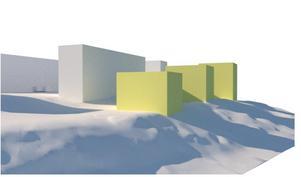 De vita husen är befintliga, de gröna visar hur de nya punkthusen skulle se ut från söder.Skiss: Telge bostäder