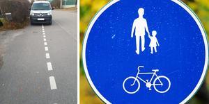 Insändarskribenten vill se skärpning när det gäller bilförare som parkerar på gång- och cykelbanor. Bilden visar en bil som står på en sådan på Brännavägen i Härnösand.