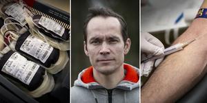 Fotomontage: Mikael Hellsten. Richard Jones måste tappas på sitt blod ofta på grund av höga järnnivåer.Men när han ville bli blodgivare tog det tvärstopp – han kan för dålig svenska.