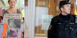 Lotta Larsson visar ett tidningsklipp som hon sparat från rånet. Bilden till höger visar en polis vid ett rån mot en annan Sparbank. Bild: Roger Wallenius/TT