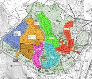 Området Lilla Källviken är till hälften färdigbyggt. Den fjärde etappen, orange på kartan, börjar byggas inom kort. Den femte etappen, den blå till vänster, är den sista. Illustrationen är från detaljplanen för Lilla Källviken.