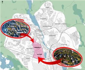 Södertälje kommun gör strukturplaner för varje stadsdel. Nu är planen för Mariekäll och Saltskog klar, som politikerna ska ta ställning till. Skiss och flygfoton: Södertälje kommun/Montage: Karolina Önnebro