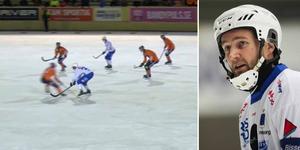 Joakim Hedqvist är kritisk till Per Hellmyrs tackling. Foto: Bandyplay / Andreas Tagg