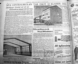 Ur Ljusnan den 19 augusti 1955, om den nybyggda Centralskolan.