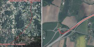 Färden markerad på en karta. Vid Trafikplats Adolfsberg körde mannen ifrån polisen, längs Mosåsvägen och Kumlavägen mot Kumla, och vidare upp på E20. Till höger är platsen markerad där mannen körde av vägen. Foto: Polisens förundersökning. Foto: Polisens förundersökning.