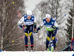 Calle Halfvarsson glidtestar under fredagens träning inför de stundande världscuptävlingarna i Falun med sprint på lördag och distanslopp på söndag. Foto: Ulf Palm/TT