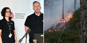 På presskonferensen deltog Anneli Bergholm Söder, MSB:s chef för den operativa avdelningen och Jakob Wernerman, operativ chef för MSB:s hantering av bränderna samt chef för enheten för insatser.