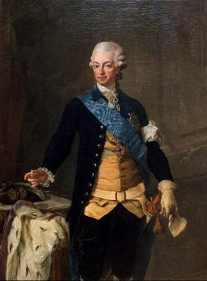 Målning av kung Gustav III, som gästspelar i Polhemsmusikalen 2021. Foto: Dan Hansson/TT