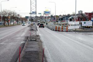 Bygget av nya resecentrum innebär att ett körfält på gamla E4 kommer att stängas av till i slutet av mars.