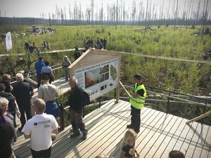 Under fredagen var det många besökare som slog följe med Kronprinsessan Victoria och vandrade i Hälleskogsbrännan. Sista stoppet för vandringen var Grävlingsberget, där besökarna kunde se den nya utställningen.