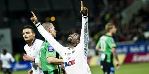 Mohammed Saeid firar ett av målen i 6–1 vinsten hemma mot Gais. Arkivbild: Lennart Lundkvist