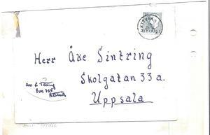 Brevet från bandyspelaren Einar Tätting adresserat till Åke Sintring.