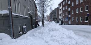 Kyrkgatan, Östersund, vid lunchtid i dag måndag.