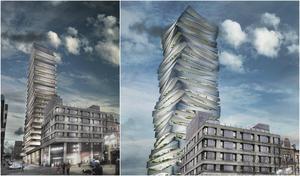 Till vänster ses den ursprungliga skissen på en ny skyskrapa i kvarteret Luna 1, längs med Garvaregatan bakom Stadium i Södertälje centrum. Till höger ses den nya versionen med våningsplan som står för sig själva med rymliga balkonger, som är en del i gestaltningskonceptet.Skiss: Strategisk arkitektur