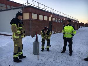 Räddningstjänsten kunde ta hand om den hittade gasolflaskan.