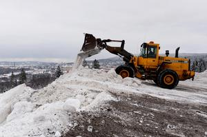 2014 var första året man började tömma snö i Nacksta. Efter den här vintern är stationen numera känd som Nackstafjället/Sundsvalls tredje stadsberg. Fotodatum: 2014-01-22 Bild: Håkan Humla