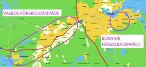 Illustration av Valbos förskoleområde. Som referens för att tydliggöra hur stort Valbos område är i förhållande till de flesta andra förskoleområden i kommunen redovisas även Bomhus förskoleområde. Kartklipp från Eniro.