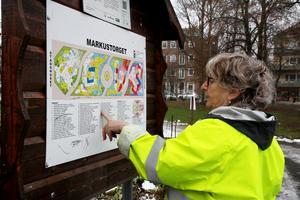 Mona-Marie Dahlin kollar var alla plantor håller till i parken – kanske inte den lättaste uppgiften med tanke på parkens storlek.