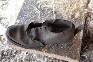 En gammal kvarglömd sko minner om gamla tider.