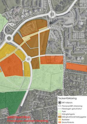 Karta över hur BRT-bussarna är tänkta att köra i området kring Örebro Universitet.