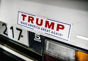 Likheten mellan Donald Trumps och Sverigedemokraternas väljare är starkt visar studier. Här är en Trump-dekal på en bil i samband med ett av Sverigedemokraternas partimöten. Foto: Tomas Oneborg / SvD / TT