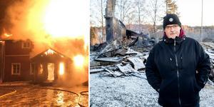 Ägaren Kjell-Åke Gerdin dagen efter den häftiga branden.
