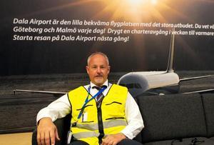 Reklamtexten i Dala Airports vänthall berättar en story som idag är historia. Stefan Carlsson, marknadschef på Dalaflyget i Borlänge.