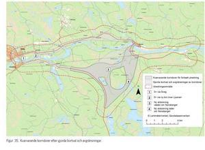 """Trafikverket skriver i samrådshandlingen att en sträckning där bron i Älvros kan nyttjas är """"ett mycket bra alternativ"""". Källa: Trafikverket"""