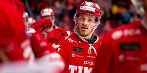 Hampus Larsson har under två säsonger varit kapten i Timrå. Nu lämnar han klubben och ansluter till Linköping. Bild: Pär Olert/Bildbyrån.
