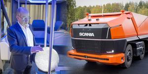 Scania visade upp två av sina framtidsprojekt: konceptbilarna NXT och AXL, en buss respektive lastbil, båda autonoma och förarlösa. Projektledare Robert Sjödin visar en annorlunda pekskärm.