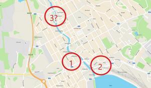 Flera detaljplaner i Falu centrum har överprövats av länsstyrelsen. Först var det Västra Falun (1), därefter Rödbro (2). Nu kan samma öde gå Bolagshyttan (3) till mötes.