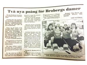 Brobergsdamerna fick inte lika mycket utrymme i media som herrarna men några artiklar går att finna i arkivet.