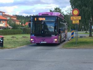 Buss nr 6, som än så länge trafikerar Sörbyängen. /FOTO: PRIVAT